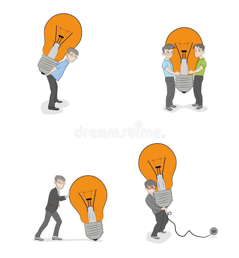 Satz kleine Leute, die eine Lampe halten Geschäftskonzeptideen Vektor stock abbildung