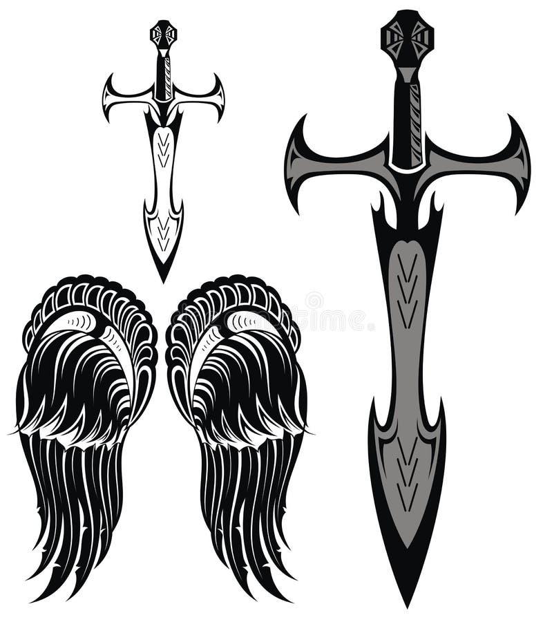Satz Klingen und Flügel stock abbildung