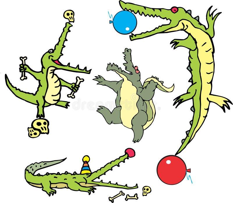 Satz komische Alligatoren im curcus (crococircus) stock abbildung
