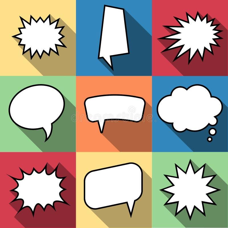 Satz komische Ballonrede mit neun Karikaturen sprudelt in der flachen Art lizenzfreie abbildung