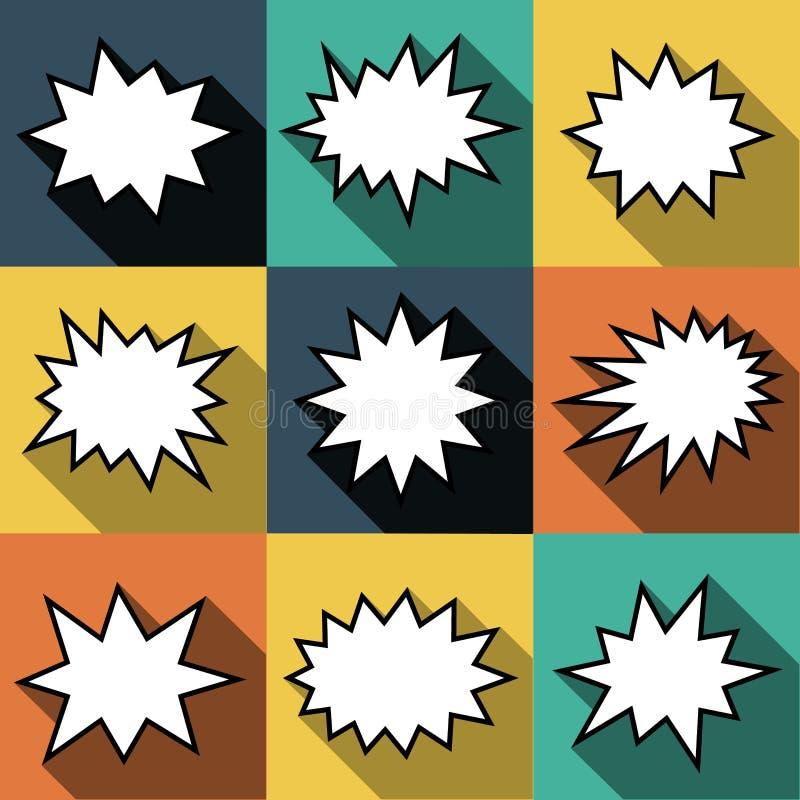 Satz komische Ballonrede mit neun Karikaturen sprudelt in der flachen Art Elemente von Designcomic-büchern ohne Phrasen vektor abbildung