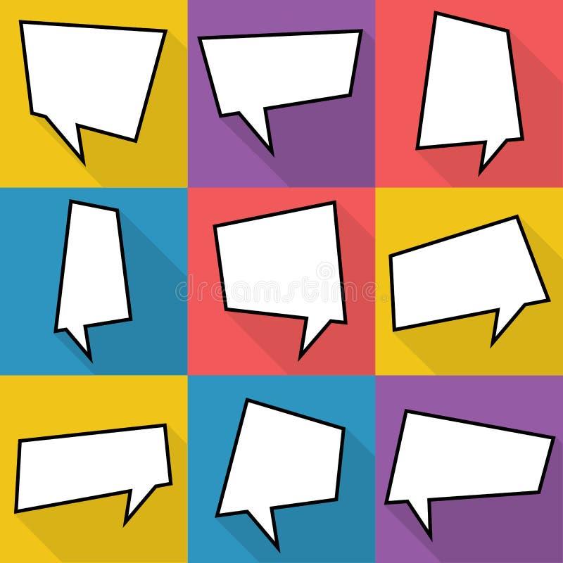Satz komische Ballonrede mit neun Karikaturen sprudelt in der flachen Art Elemente von Designcomic-büchern ohne Phrasen lizenzfreie abbildung