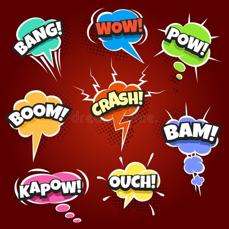 Satz komische Blasen gezeichnet in Pop-Arten-Art lizenzfreie abbildung