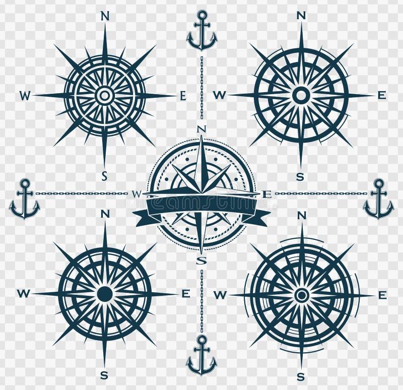 Satz Kompassrosen oder -Windrosen stock abbildung