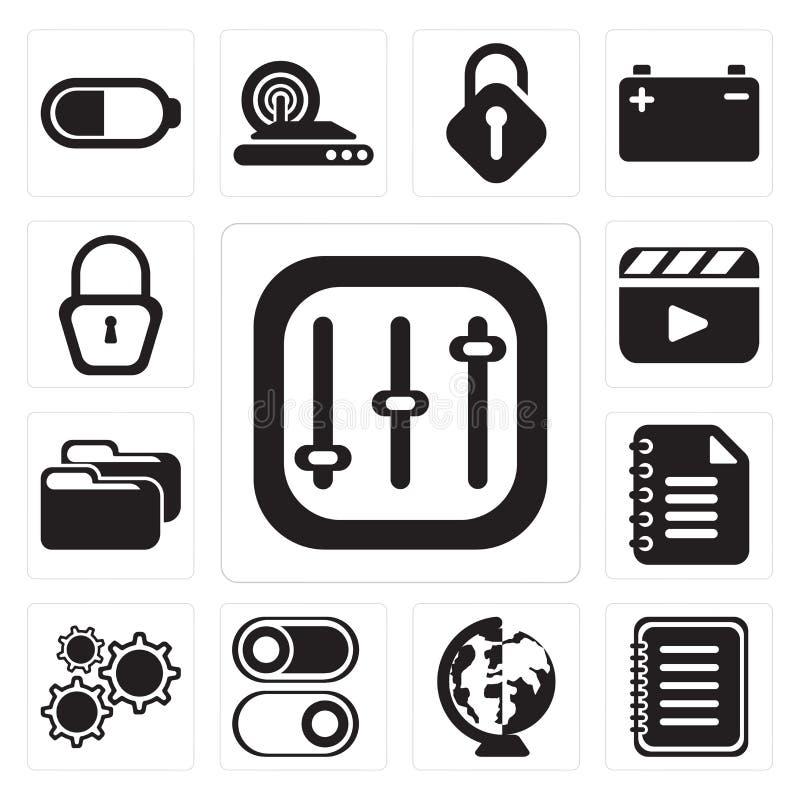 Satz Kontrollen, Anmerkung, weltweit, Schalter, Einstellungen, Notizblock, Fol lizenzfreie abbildung