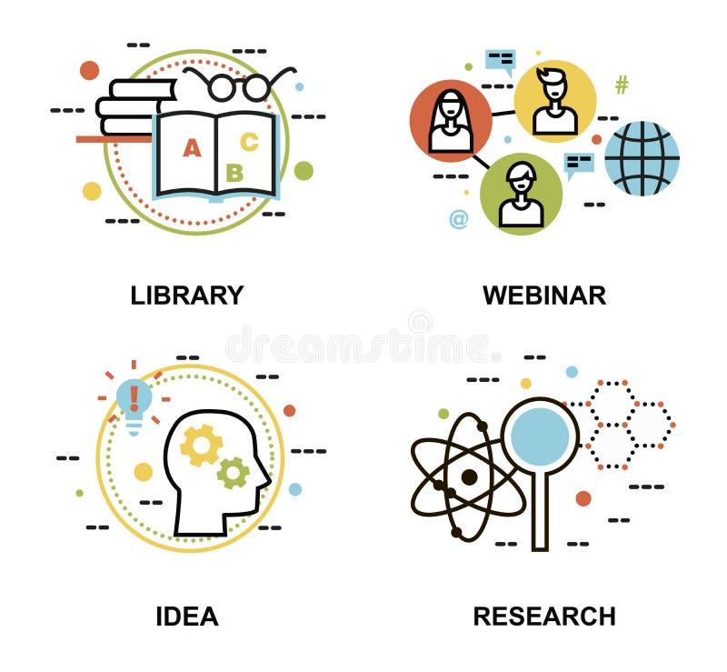 Satz Konzepte, Bibliothek, webinar und Forschung der Bildung proces stock abbildung