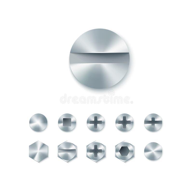 Satz Kopfschrauben und Bolzen, Nägel und Niet lokalisiert auf weißem Hintergrund Auch im corel abgehobenen Betrag lizenzfreie abbildung