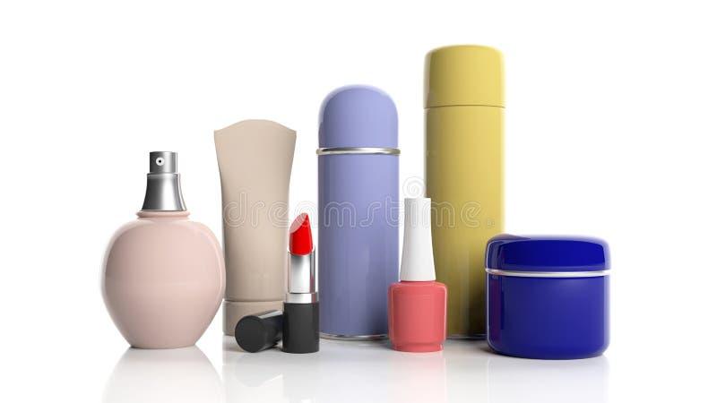 Satz Kosmetikprodukte auf weißem Hintergrund Abbildung 3D vektor abbildung