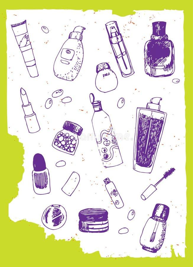 Satz Kosmetikvektorgekritzel stock abbildung
