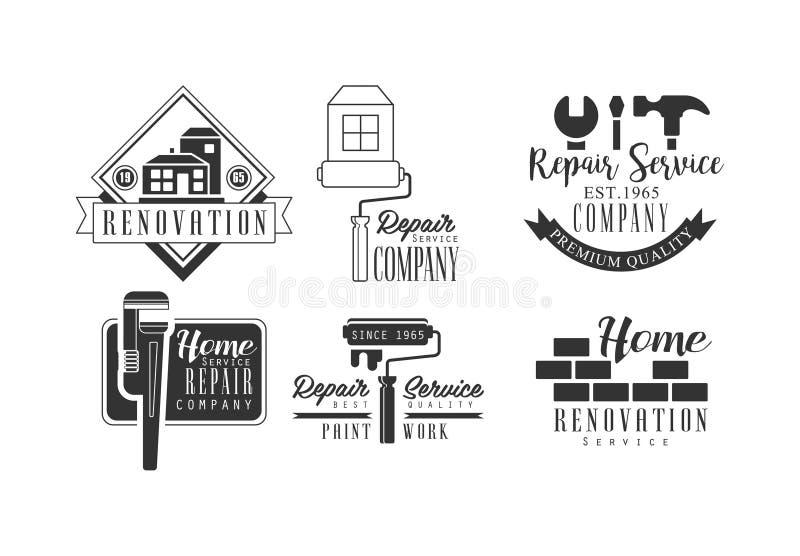 Satz kreative Logos für Reparaturdienstleistungen Einfarbige Vektorembleme für Firmen der Haupterneuerung und der Malerarbeiten stock abbildung