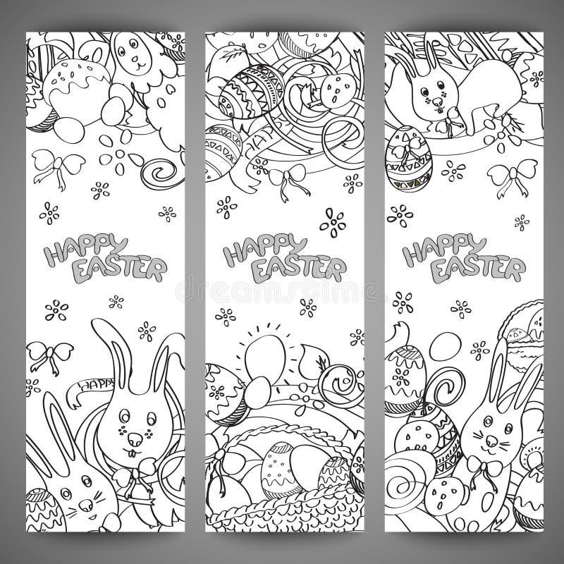 Satz kreative multi Farbvektorfahnen für fröhliche Ostern lizenzfreie abbildung