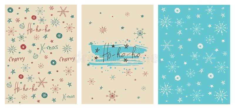 Kreative Weihnachtskarten.Satz Kreative Weihnachtskarten Mit Schneeflocken Nahtlosen Mustern
