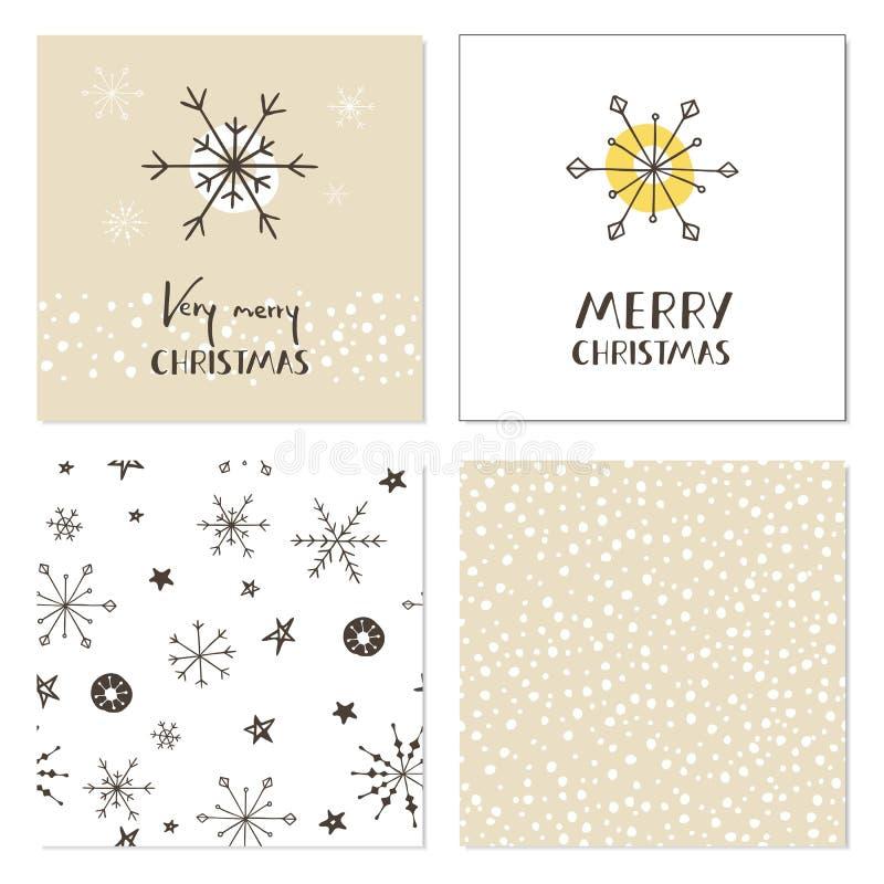 Satz kreative Weihnachtskarten mit Schneeflocken, nahtlosen Mustern und Hand gezeichneter Beschriftung Sehr frohe Weihnachten Sch stock abbildung