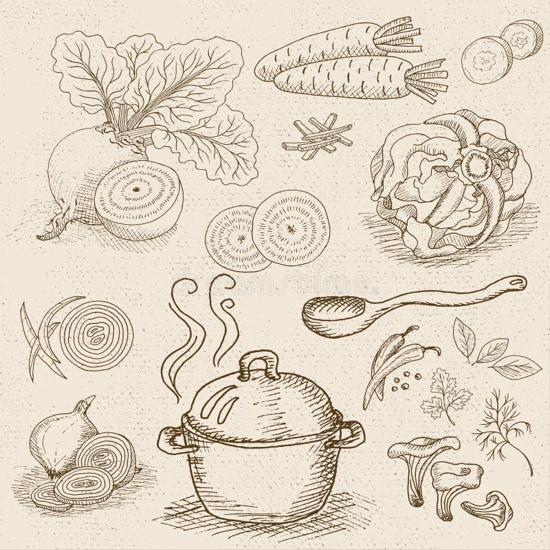 Satz Kreide gezeichnet auf ein Tafellebensmittel, Gewürze stock abbildung