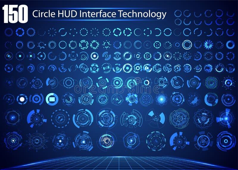 Satz Kreis-Zusammenfassungs-Digitaltechnik UI futuristischer HUD Virt vektor abbildung