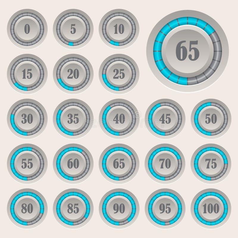 Satz Kreisdiagramme für Geschäft infographics Fortschrittsstange für Webdesign Elemente 3d Infographic Blau-graue Art lizenzfreie abbildung