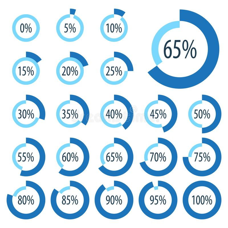 Satz Kreisdiagramme für Geschäft infographics Fortschrittsstange für Webdesign Elemente 3d Infographic blau-weiße Art stock abbildung