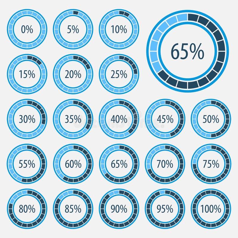 Satz Kreisdiagramme für Webdesign Fortschrittsstange für Geschäft infographics Elemente 3d Infographic Blaue und weiße Art vektor abbildung
