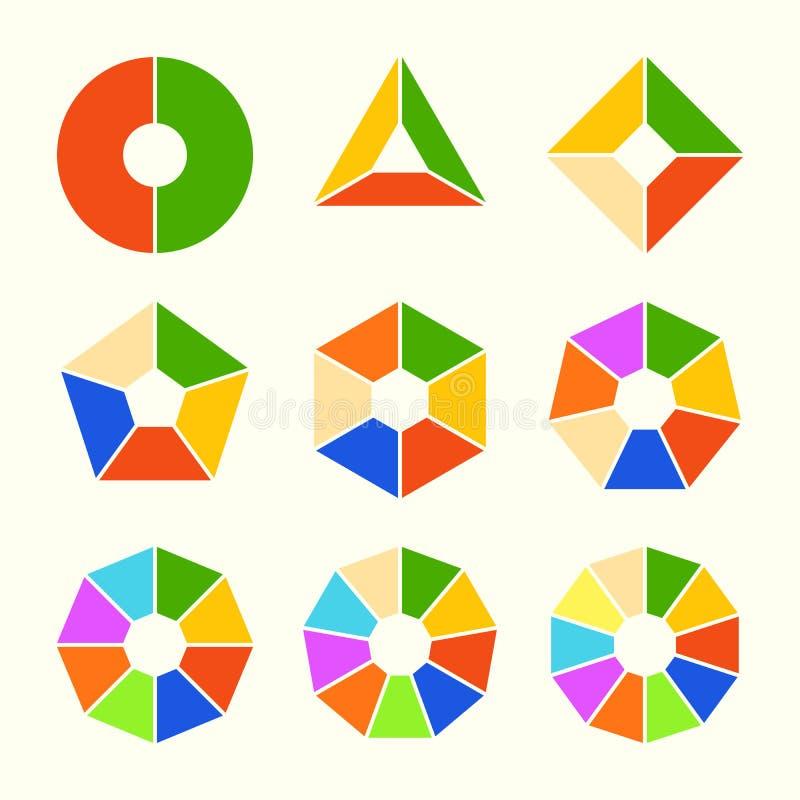 Satz Kreisdiagramme mit glatten Latten Sektorendiagramme in der flachen Art Bunte Elemente für infographics Vektor vektor abbildung