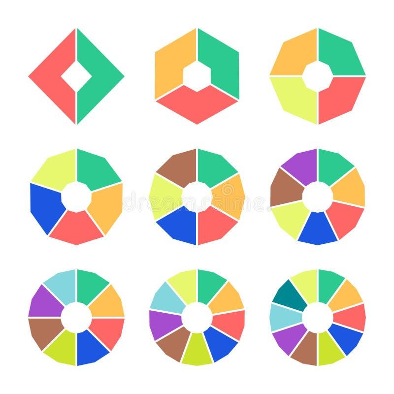 Satz Kreisdiagramme mit Latten Eckige Sektorendiagramme in der flachen Art Bunte Elemente für infographics Vektor stock abbildung