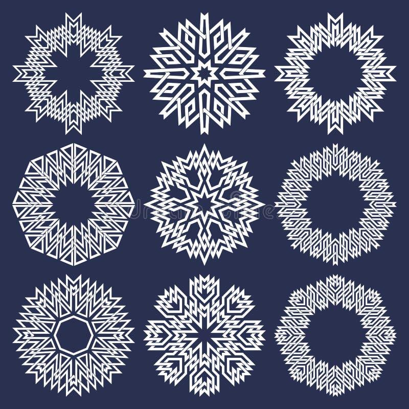 Satz Kreismuster in den asiatischen schneidenen Linien Art Neun spitze Mandalen des Weiß acht in der Schneeflockenform stock abbildung
