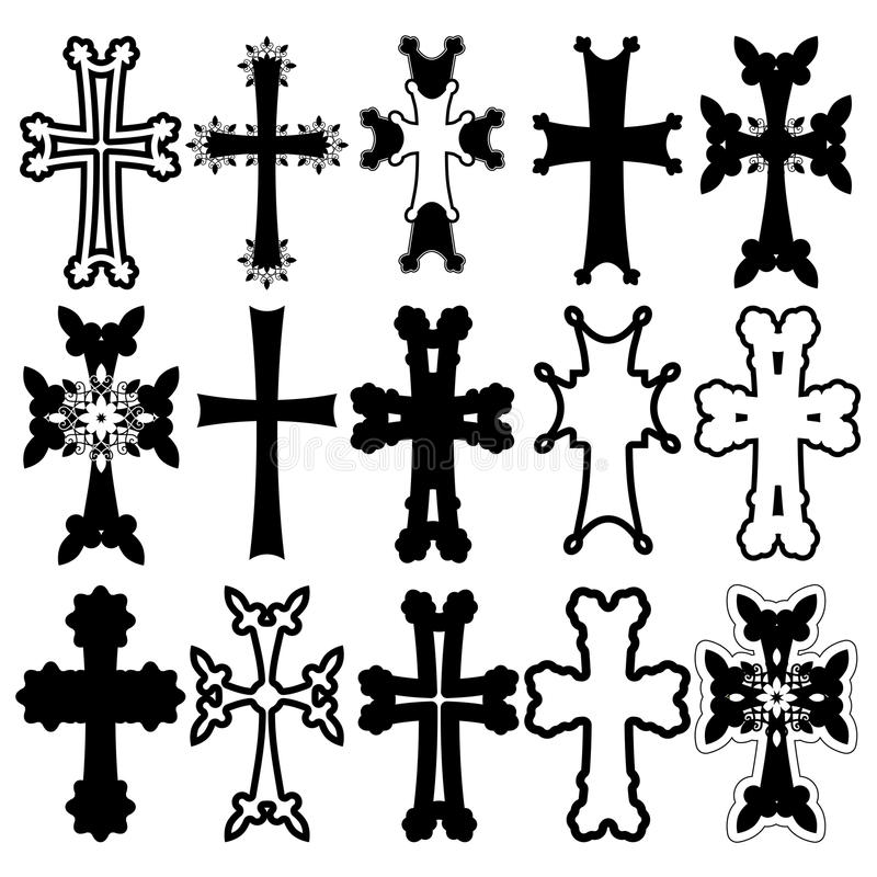 Satz Kreuze armenisches Kreuz ablage lizenzfreie stockfotografie