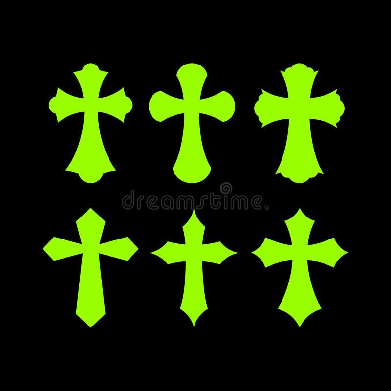 Satz Kreuze Christliche Symbole Religiöse Zeichen vektor abbildung