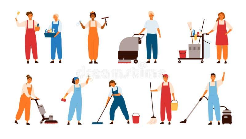 Satz lächelnde männliche und weibliche Reinigungsservice-Arbeitskräfte, Hauptreiniger oder Haushälterinnen mit Poliermaschinen de lizenzfreie abbildung