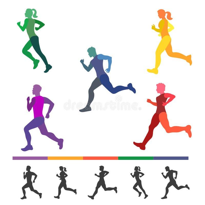 Satz Läufer Schattenbilder von laufenden Leuten stock abbildung
