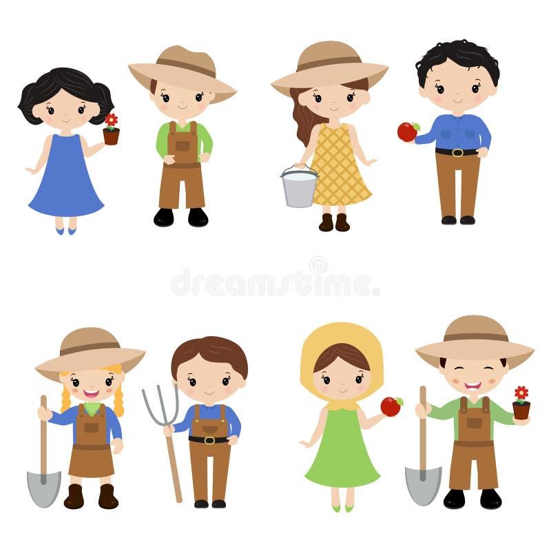 Satz Landwirtmädchen und -jungen vektor abbildung