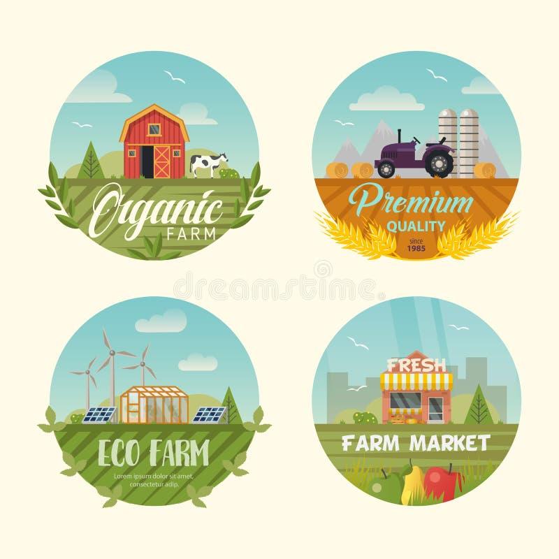 Satz Landwirtschaft des Logos oder der Fahnen mit Scheune vektor abbildung