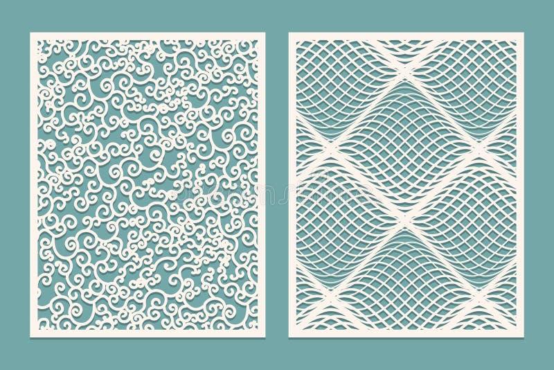 Satz Laser-Schnittplatten Schablonen-Muster für dekorative Platten Segeltuch herausgeschnitten Papier geschnittenes dekoratives D stock abbildung