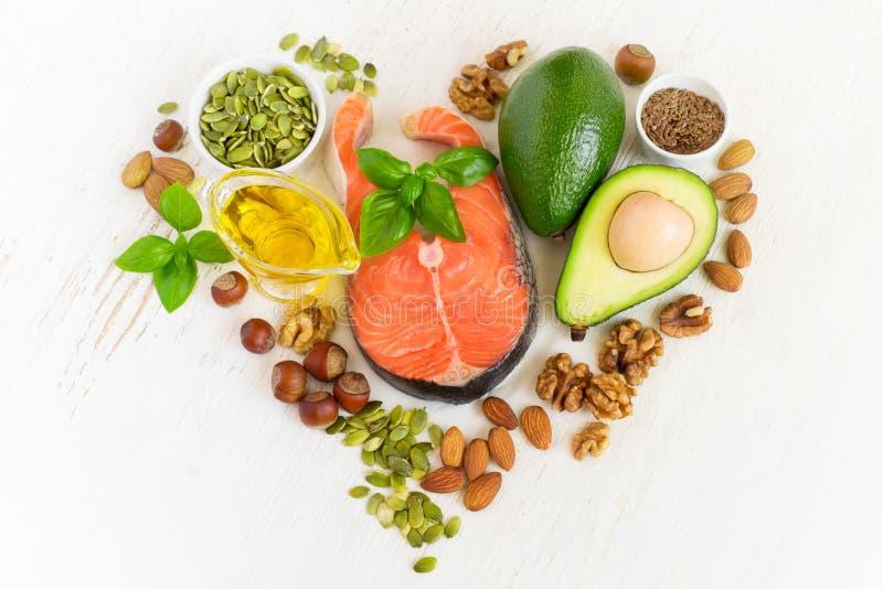 Satz Lebensmittel mit healthyl Fetten und omega-3 lizenzfreie stockfotos