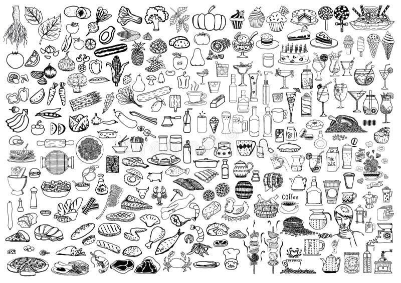Satz Lebensmittel und Getränke kritzeln auf weißem Hintergrund lizenzfreie abbildung