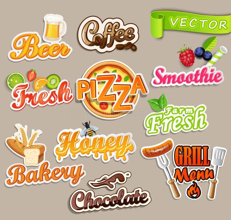 Satz Lebensmittelaufkleber stock abbildung