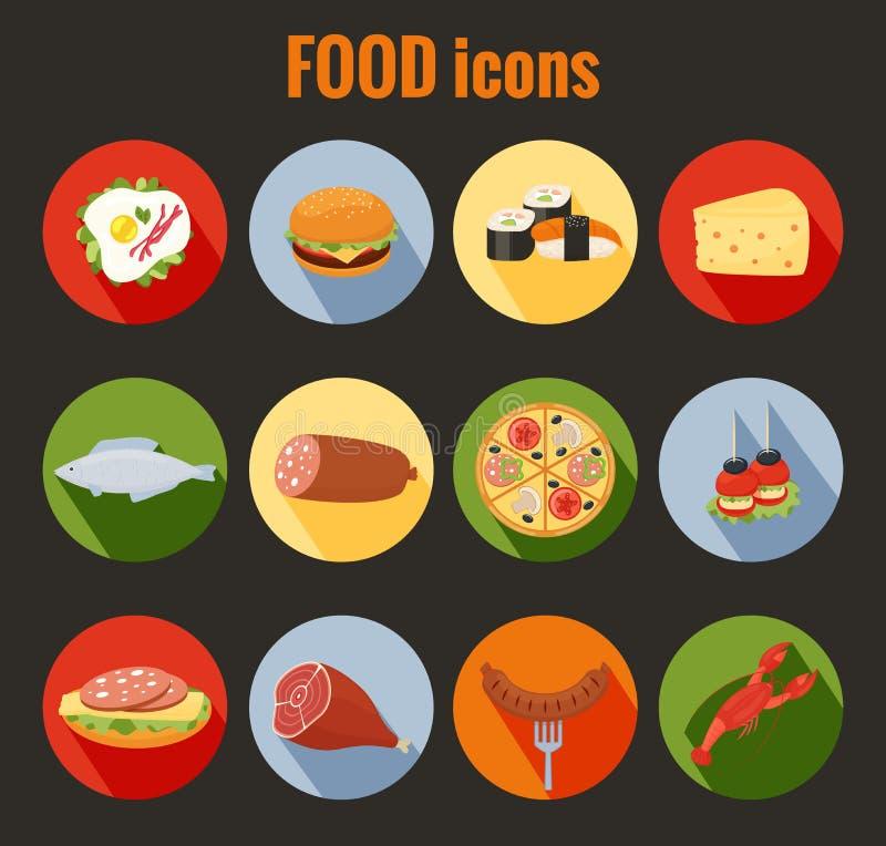 Satz Lebensmittelikonen auf bunten runden Knöpfen vektor abbildung