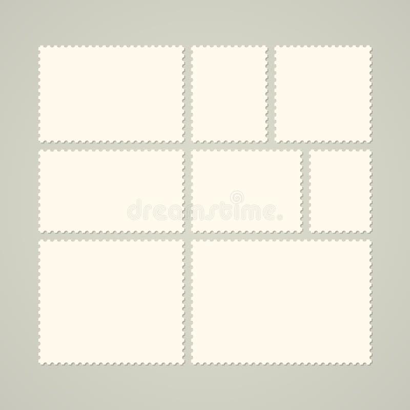 Satz leere Briefmarken stock abbildung