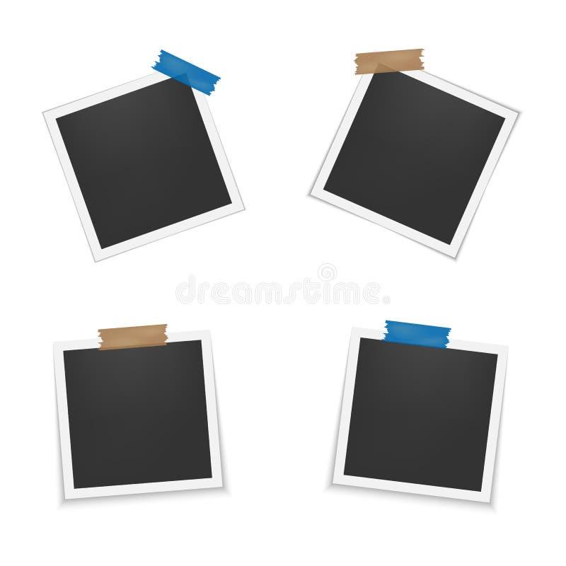 Satz leere Fotorahmen mit Schatten Leere Schablone für Fotografie und Bild Realistische leere sofortige Fotokarte lizenzfreie abbildung