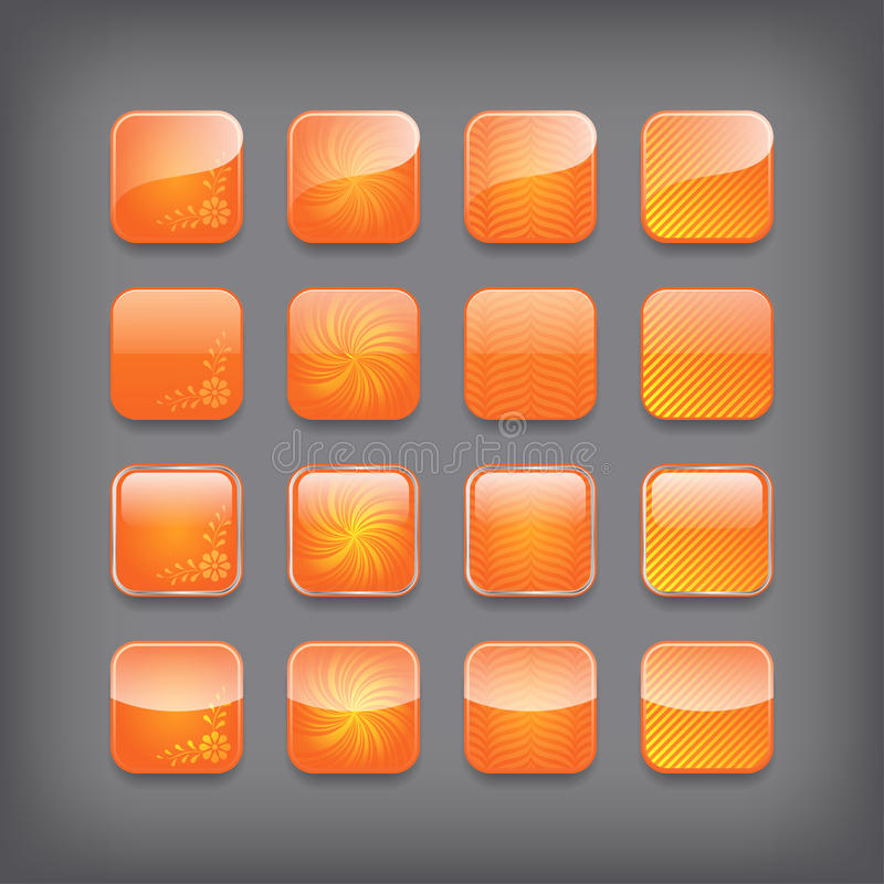 Satz leere orange Knöpfe vektor abbildung