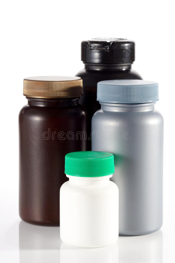 Satz leere Plastikbehälter für Medizin lizenzfreies stockbild