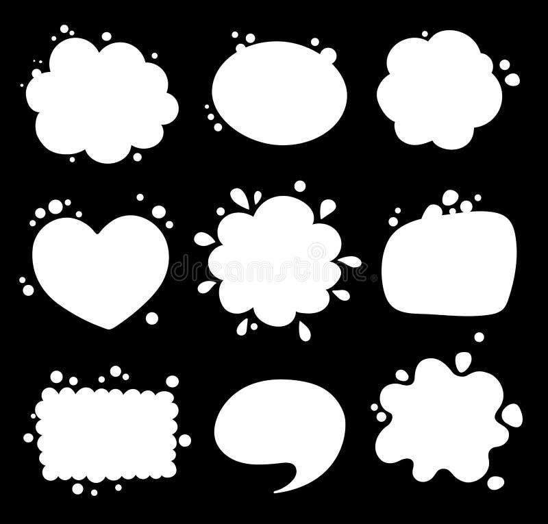 Satz leere weiße Spracheblasen stock abbildung