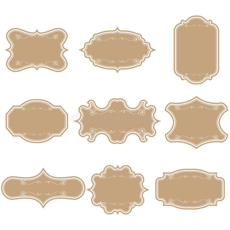 Satz leere Weinleserahmen Lokalisiert auf einem schwarzen Hintergrund Tapezieren Sie Kennsätze Flaches Design Lokalisierte Vektor vektor abbildung