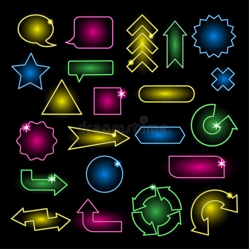 Satz Leuchtreklamen und Pfeile stock abbildung