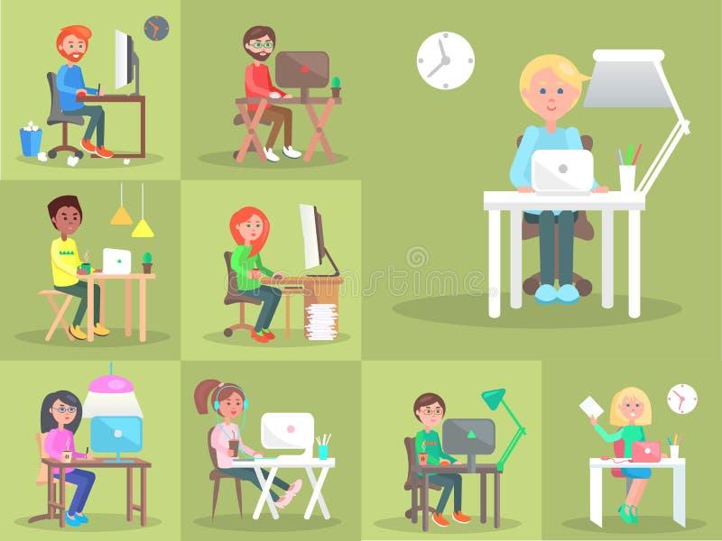 Satz Leute am Computer in der Büro-Karikatur-Art vektor abbildung