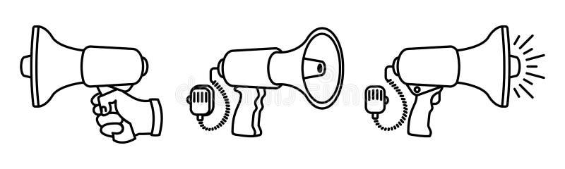 Satz lineare Lautsprecher 3 verschiedene Megaphone auf dem schwarzen Hintergrund gemacht mit Liebe und Sorgfalt vektor abbildung