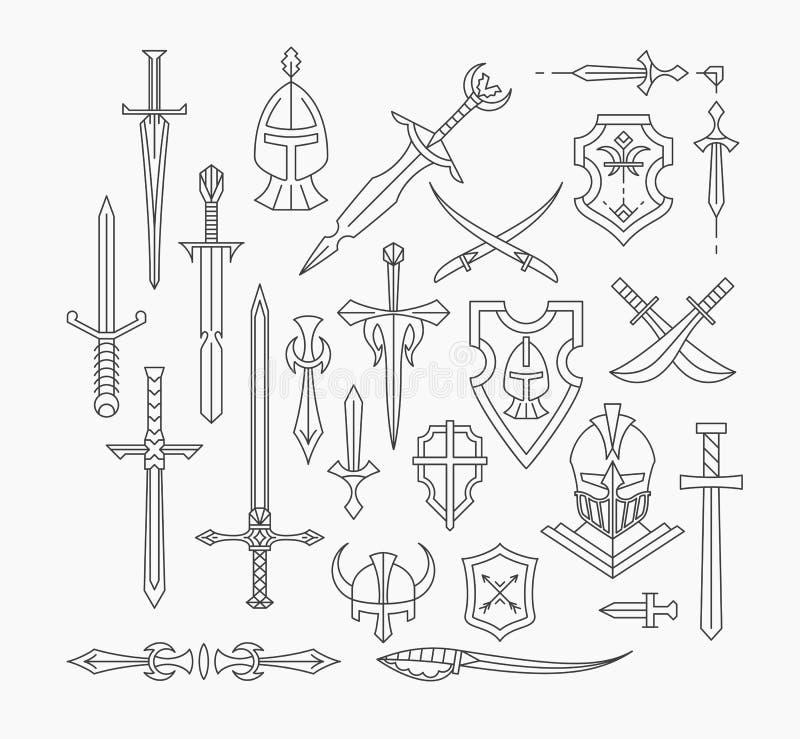 Satz lineare mittelalterliche Waffe und Schilder stock abbildung