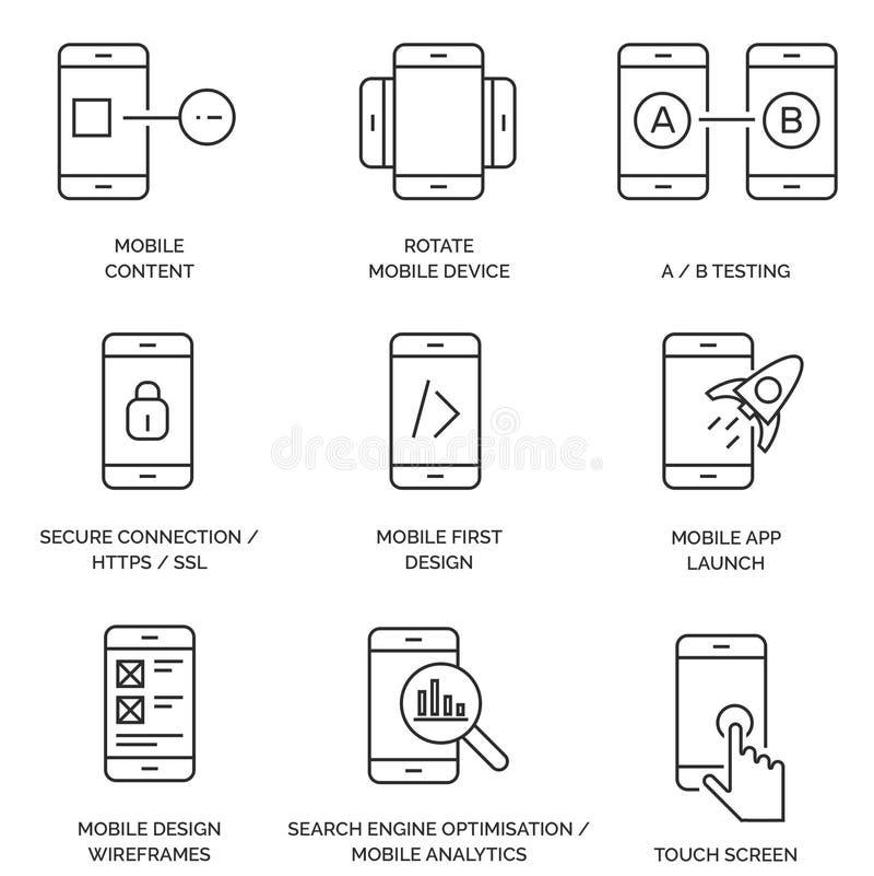 Satz Linien-/Entwurfs-Mobile-Ikonen vektor abbildung