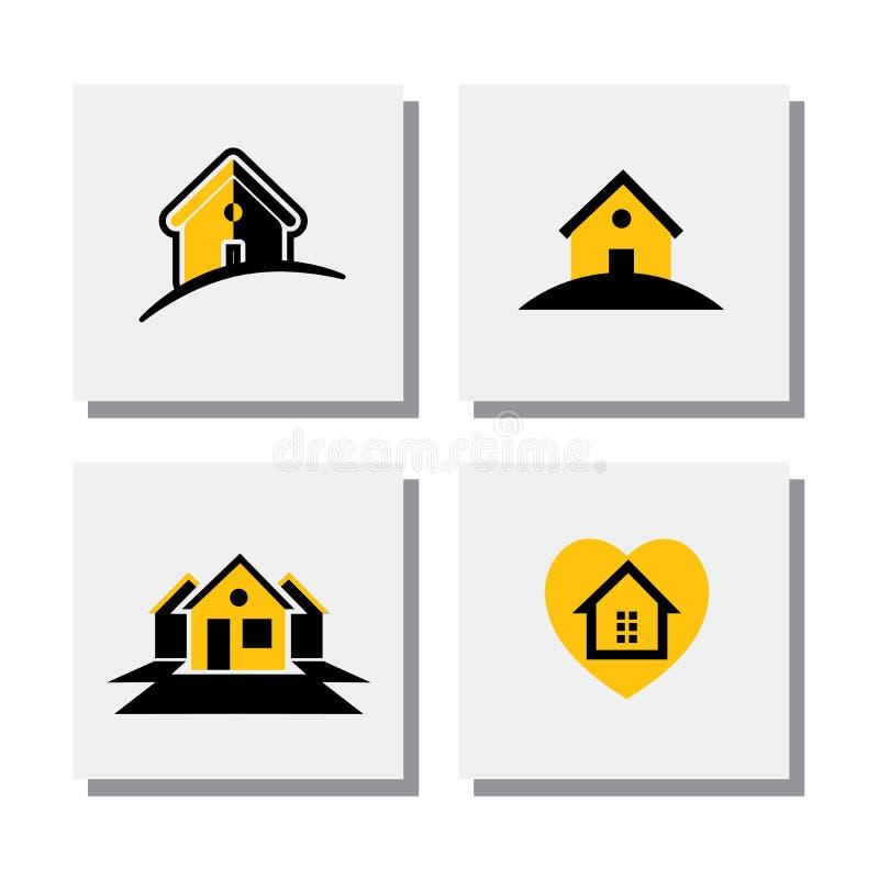 Satz Logohaus- oder Ausgangsdesigne - vector Ikonen lizenzfreie abbildung