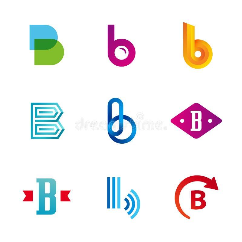 Satz Logoikonen des Buchstaben B entwerfen Schablonenelemente lizenzfreie abbildung