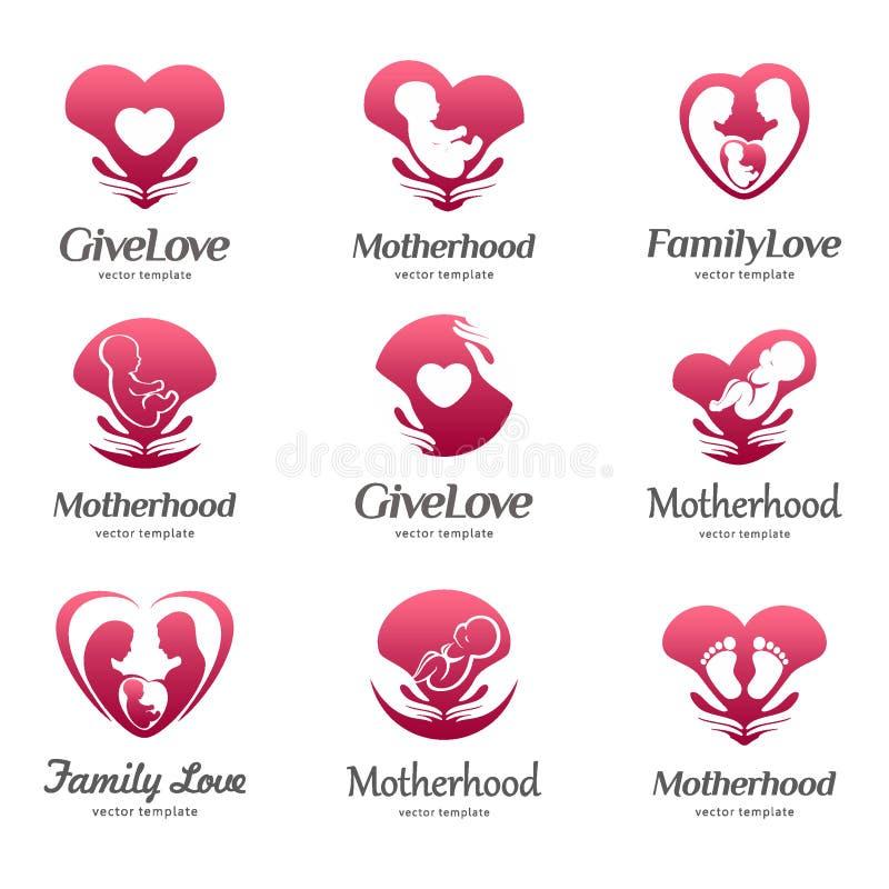 Satz Logos der Mutterschaft, Babysorgfalt, Familienliebe, Schwangerschaft, Niederkunft lizenzfreie abbildung